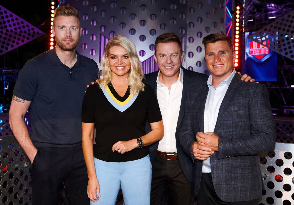 HOSTS: Ninja Warrior returns on Sunday with, from left, Andrew Flintoff, Rebecca Maddern, Ben Fordham and Shane Crawford.