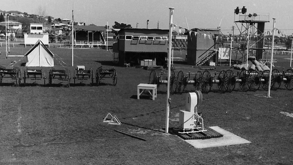 Ready for action: West Port Oval set up for the Firemans Demonstration, 1970. Photo: supplied by Port Macquarie Museum.